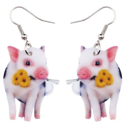 370e3eac0 Acrylic Flower Pink Pig Piggy Earrings For Women Animal Jewelry Accessory  Charms
