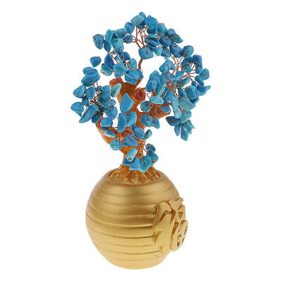 Money Wealth Bag Feng Shui Lucky Tree Natural Blue Crystal Tree