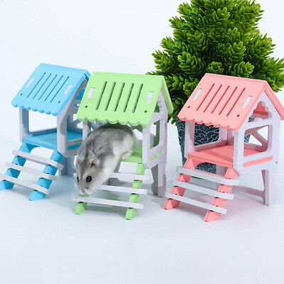 Wooden House Chinchilla Hamster Nest Attic Small Animal Playing Pet Toy Cheerful