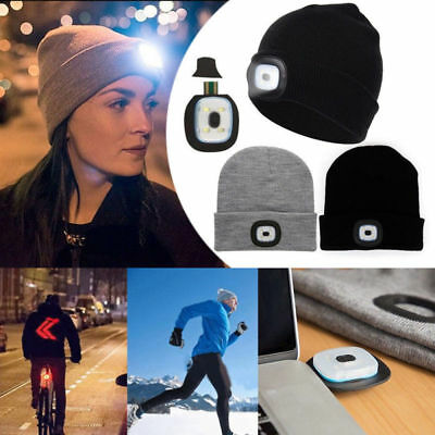 LED Sports Running Knitted Beanie Cap Headlamp Head Light Flashlight Torch Hat