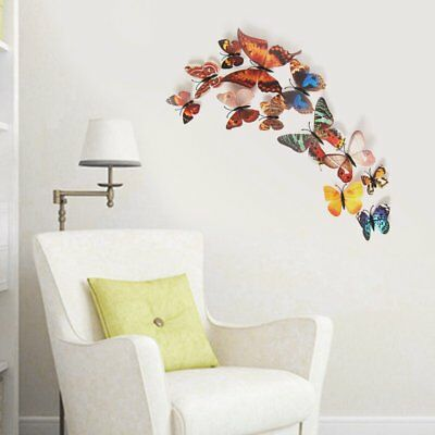 12PCS 3D PVC Magnet Butterfly DIY Wall Sticker Removable Refrigerator MagneBE