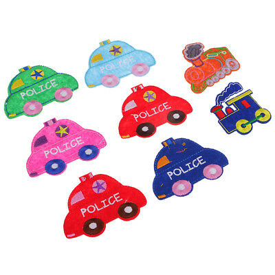 8Pcs Lovely Cars Sew On Patches Badges Transfers for Kids Fancy Dress