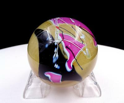 "Glass Eye Studio Signed Art Deco Flower Pontil 2 1/2"" Paperweight 1988"