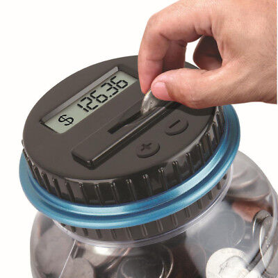 Clear Digital Piggy Bank Coin Saving Counter LCD Counting Money Jar Change