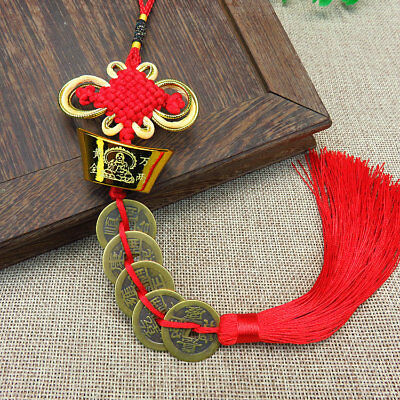 Chinese Feng Shui Red String Wealth Lucky Coin Charm Pendant Knot