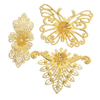 3x Vintage Metal Filigree Peacock Butterfly Charms Hair Jewelry Findings