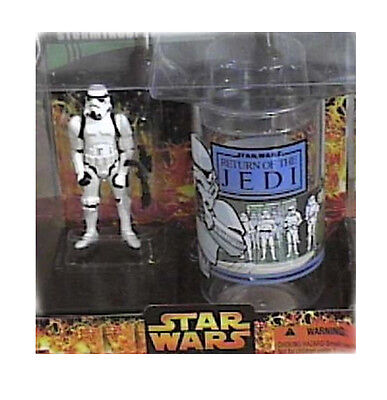 STAR WARS STORMTROOPER TOY FIGURE & COLLECTORS GLASS gift set NICE!