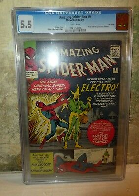MARVEL CGC Comics SPIDERMAN White pages #9 1964 1ST appearance ELECTRO FN- 5.5