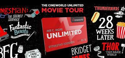 Cineworld Unlimited Card (INCLUDING WEST END) 13 months UNLIMITED MOVIES