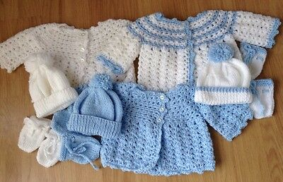 Baby Boy New Set Crochet & Hand Knitted Cardigan, Hat & Mitts (4 PIECE SET)