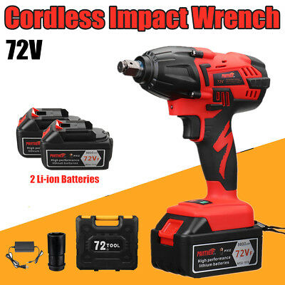 Electric Cordless Impact Wrench Gun 1//2/'/' Driver With 2X10000ah Li-Ion Battery
