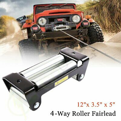 "10"" Heavy Duty 4Way Roller Fairlead Roller Cable Guide Universal For Winch Cable"