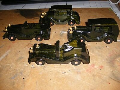 4 Old Wooden Painted Cars