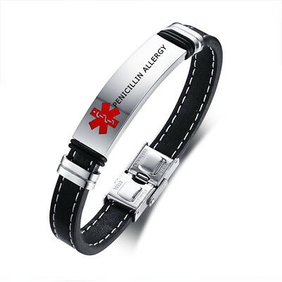 Medical Alert ID Genuine Leather Bracelet Wristband Engraved PENICILLIN ALLERGY