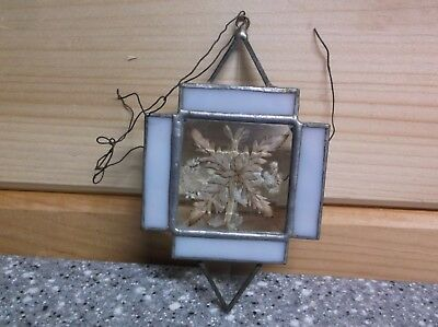 390 Antique Leaded Glass Triangle beveled glass plant under glass ornament
