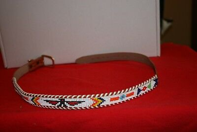 """Vintage Native American Beaded THUNDERBIRD 33.5"""" Belt with Laced Edges"""