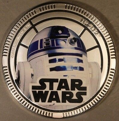 2011 Niue Dollar Star Wars R2D2  Silvered Proof  ** FREE U.S. SHIPPING **