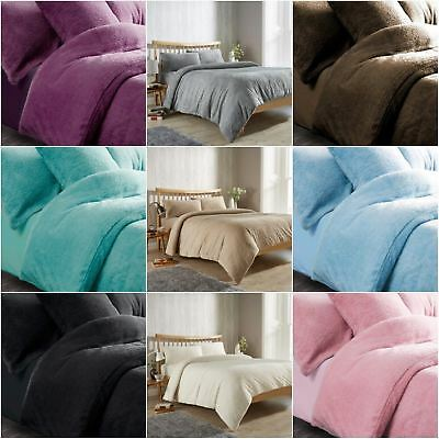 Teddy Fleece Duvet Quilt Cover Bedding Set With Matching Pillowcase Warm & Cosy