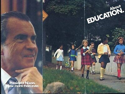 1972 Committee to Re-Elect President Richard Nixon Brochure About Education