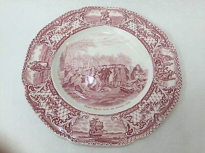"Vintage Colonial Times by Crown Ducal Pink England Plate, 10 1/4"" Diameter"
