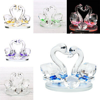 Pair of Swan Crystal Wedding Ornament Heart Shape Valentine's Day Gift Decor W3