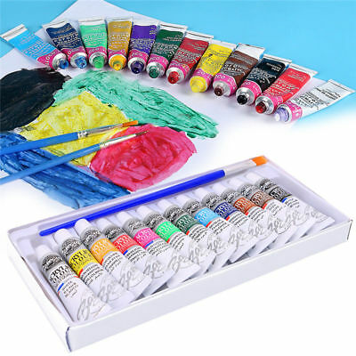 12 Color Acrylic Paint Set 6 ml Tubes Artist Draw Painting Pigment+Brush New