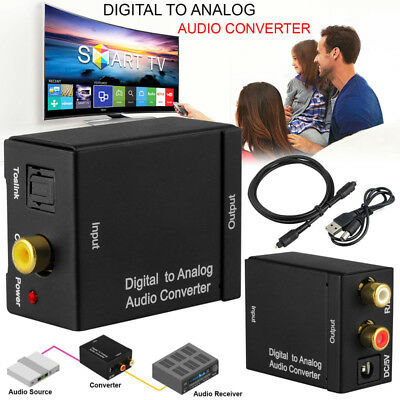 Optical Coax Coaxial Toslink Digital to Analog Audio Converter Adapter RCA L/R