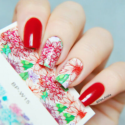 BORN PRETTY 2Sheets Fantastic Geo Lines Nail Art Water Decals Transfer Stickers