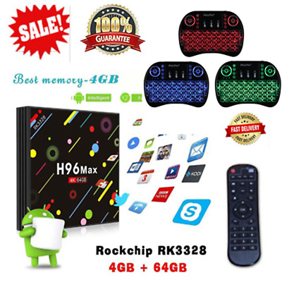 H96 MAX-H2 4GB/ 64GB WiFi Android Smart TV Box 18.0 Player I8 keyboard HD Latest