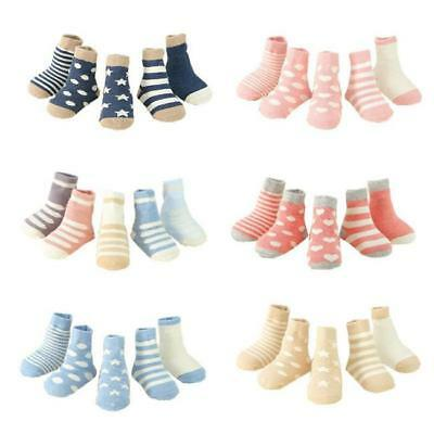 5 Pairs Anti Slip Skid Baby Soft Ankle Cotton Sock Stripe Toddler Sock Pop 6L