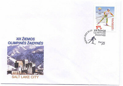 Lithuania 2002 First Day Cover #710 Salt Lake Winter Olympic Games Skiing