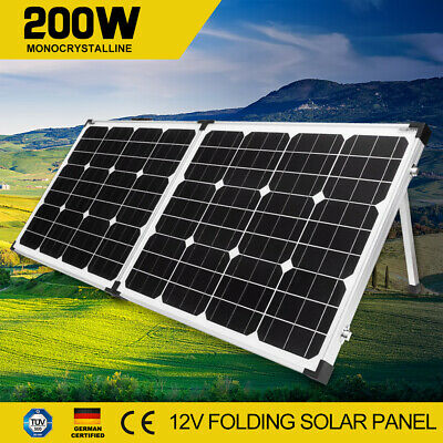 200W 12V Mono Folding Solar Panel Kit Camping Portable Completed Panel Set