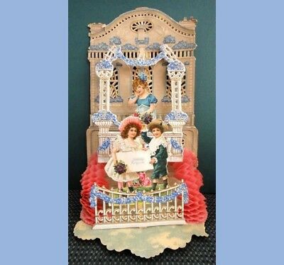 antique VICTORIAN DIE CUT VALENTINE GREETING CARD boy girl HONEYCOMB germany