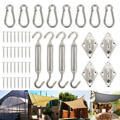 16X Stainless Steel Sun Shade Sail Hardware Kit Accessory + 32X Mounting Screws