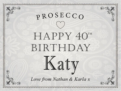 Personalised HAPPY BIRTHDAY Prosecco Label (any age) 18th 21st 40th 50th etc