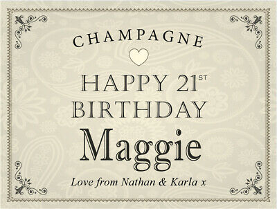 Personalised HAPPY BIRTHDAY Prosecco Label (any age) 18th 21st 30th 50th etc