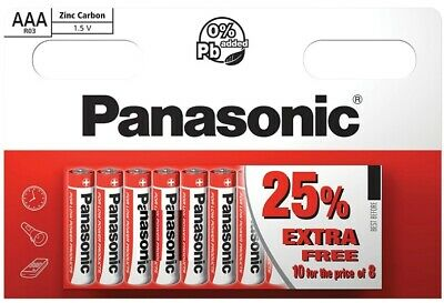 AAA Panasonic Batteries 10 x  Zinc Carbon Genuine - New LR03 1.5V MN2400 02/2020