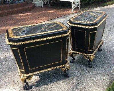 1 Of 2 Maitland Smith Chippendale Wine Storage Tables Cabinets Cellarette