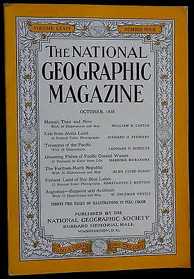 National Geographic Magazine October 1938 HAWAII - FINLAND - AUGUSTUS - FISHES
