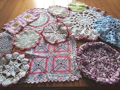 Mixed Lot Of 14 Hand Crochet Doilies-Varied Colors, Shapes, Sizes