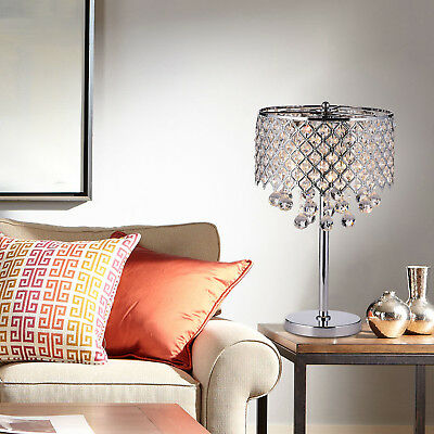 Chrome Round Crystal Chandelier Bedroom Nightstand Table Lamp 3-Light Fixture