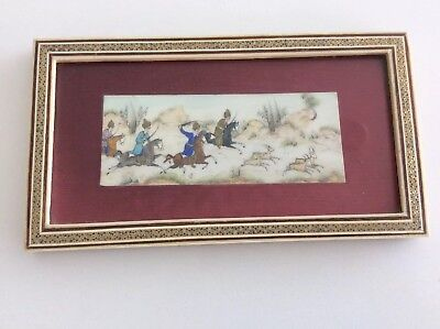 Persian Miniature Wood Framed Hand Painted Hunting Scene 1968. H.Ali Sajjadi
