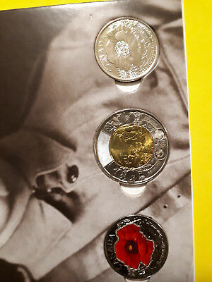 2015 Canada Remembrance Card with Commemorative $2 and 25 cent Poppy coins