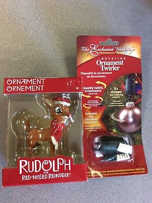 Rudolph the red nosed reindeer Christmas ornament with ornament twirler.