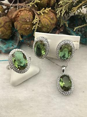 925 Sterling Silver Jewelry Alexandrite ( Play of Color ) Ladie's Set