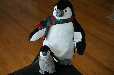 PLUSH Penguins Pier 1 One Sampson Scout Father Dad Pouch Baby Set Stuffed Animal