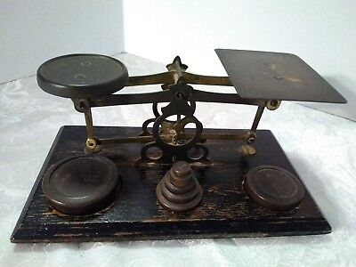 Vintage Brass Postal Scale  & Weights - England - Nice