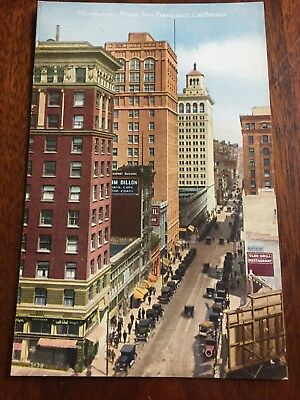 Montgomery Street San Francisco Postcard 1927 Unposted Vintage PC COLOR