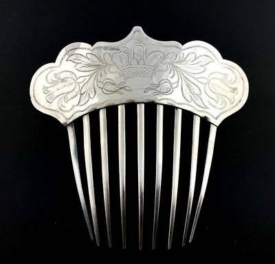 Antique 19thc. COIN SILVER Brite-Cut Engraved Hair Comb Ornament  Wedding Bridal