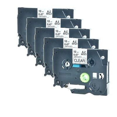 5PK For Brother P-Touch PT-1010 Black on Clear Label Tape 1/2'' TZ-131 TZe-131
